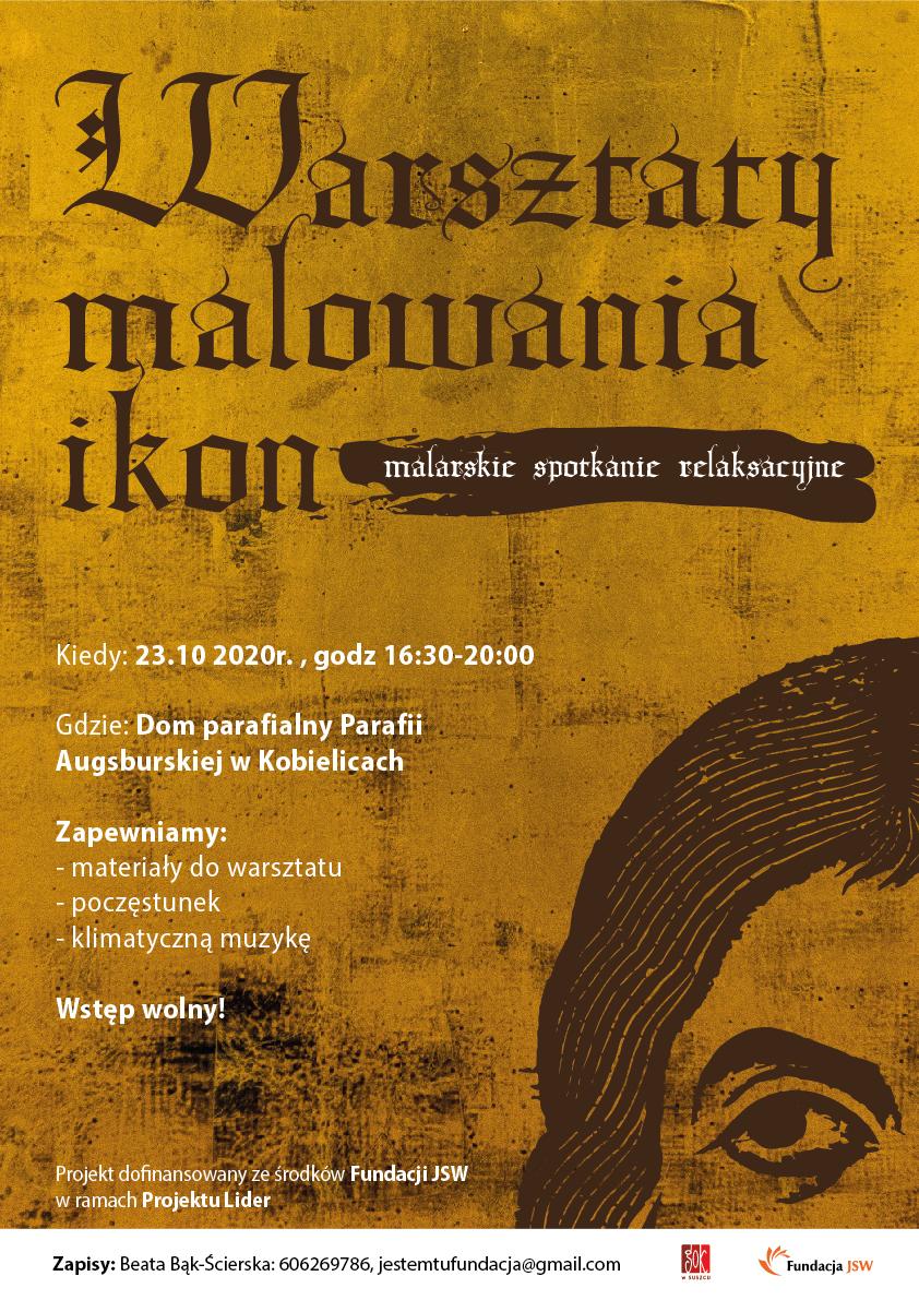 Plakat stylistyką nawiązuje do ikon. Na złotym tle znajduje się kawałek twarzy mężczyzny, przedstawionego w sposób rysunkowy, za pomocą samych konturów. Na plakacie znajduje się tytuł oraz szczegóły warsztatów.