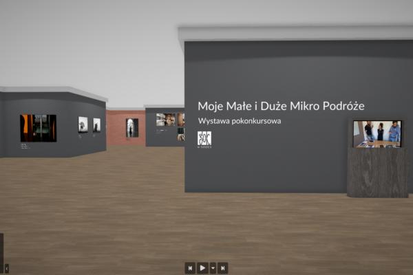 Zrzut ekranu przedstawiający wirtualną wystawę pokonkursową Moje Małe i Duże Mikro Podróże.